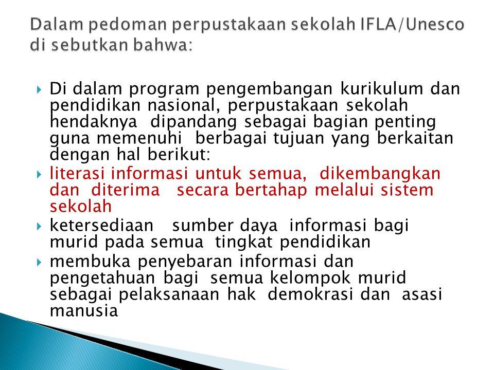 Dalam pedoman perpustakaan sekolah IFLA/Unesco di sebutkan bahwa: