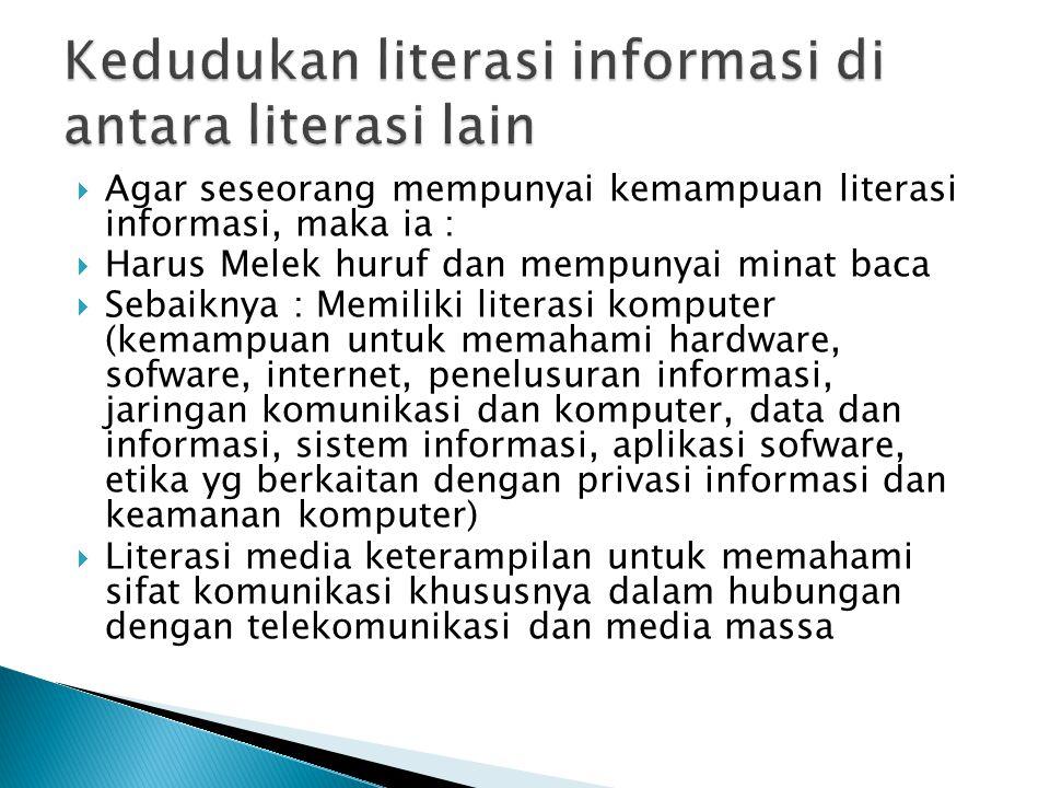 Kedudukan literasi informasi di antara literasi lain