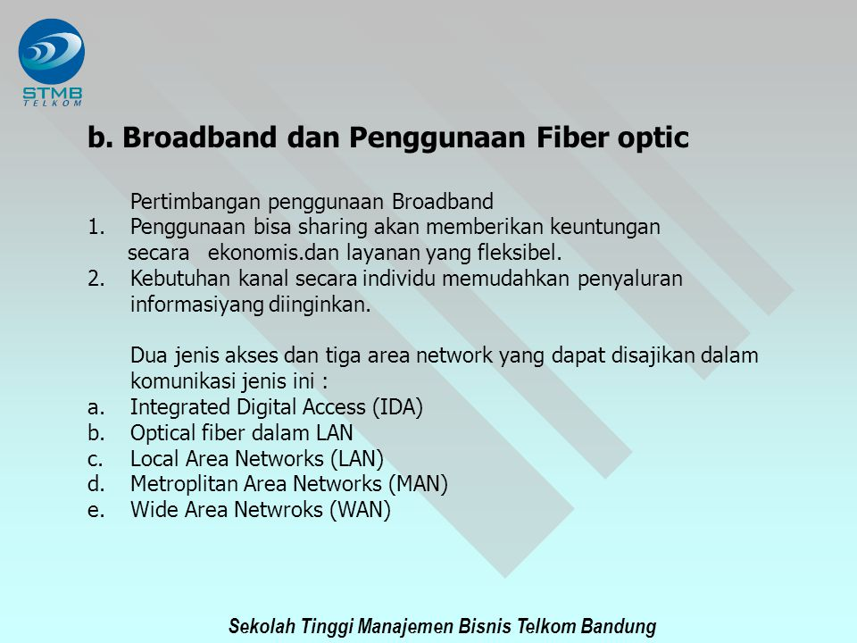 b. Broadband dan Penggunaan Fiber optic