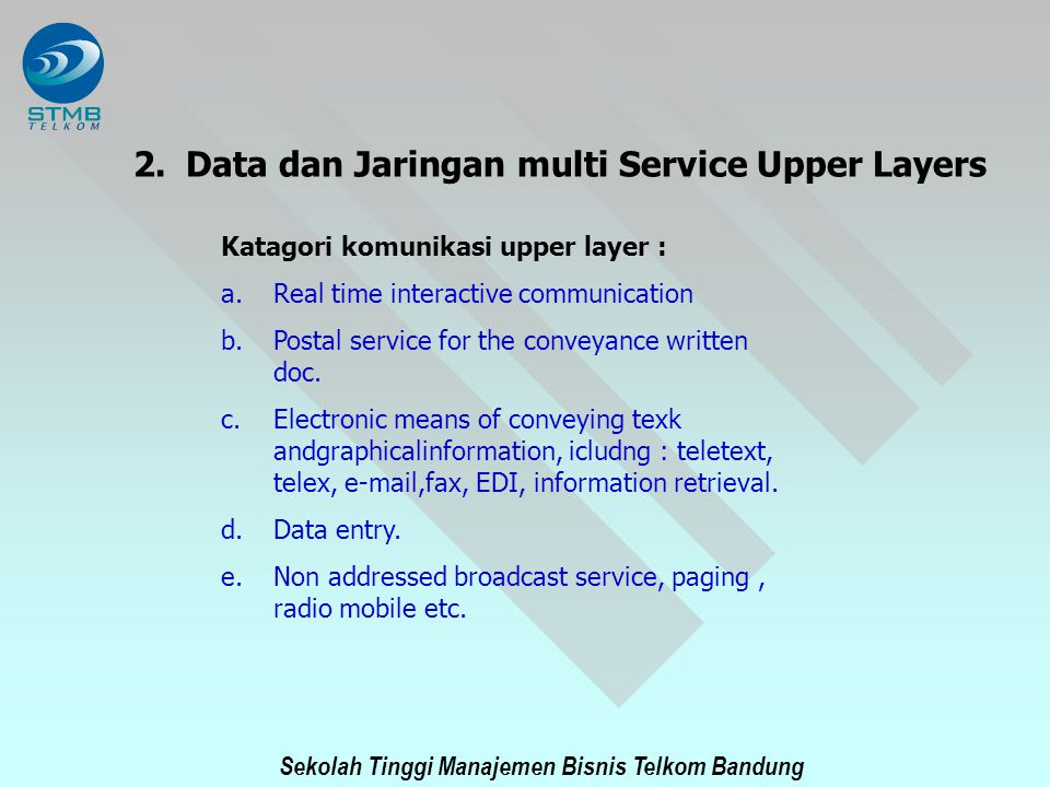 Data dan Jaringan multi Service Upper Layers