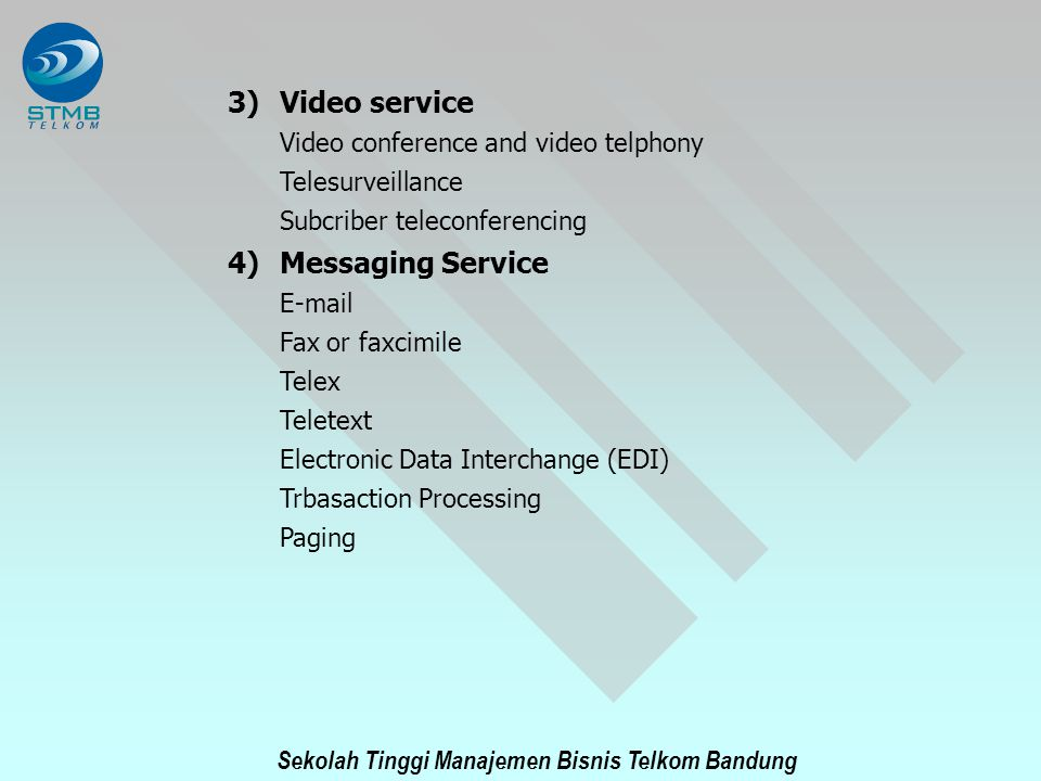 Video service Messaging Service Video conference and video telphony