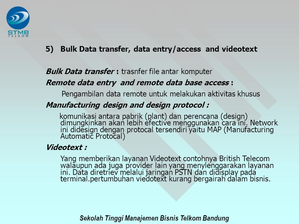 Bulk Data transfer, data entry/access and videotext