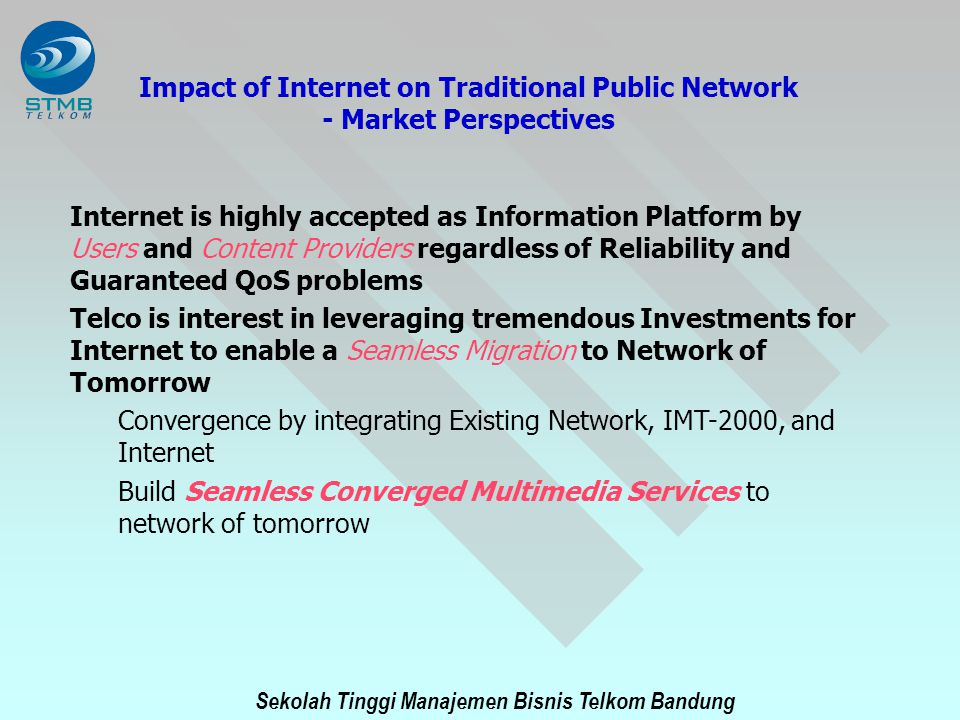 Impact of Internet on Traditional Public Network - Market Perspectives