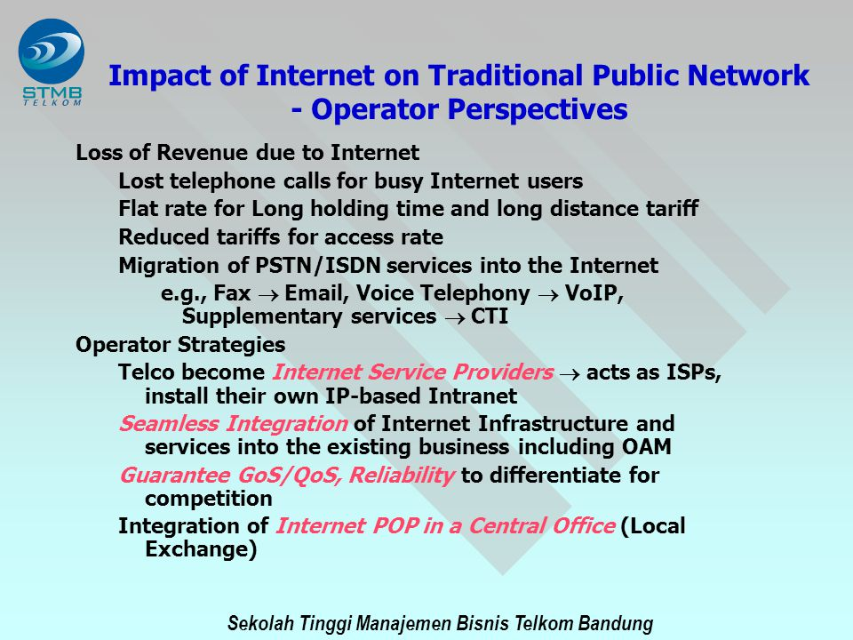 Impact of Internet on Traditional Public Network - Operator Perspectives