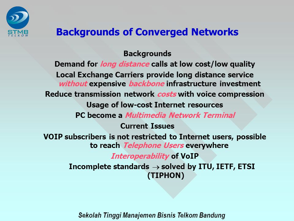 Backgrounds of Converged Networks