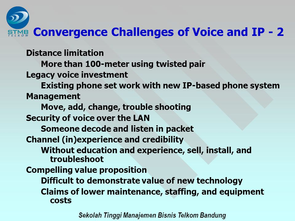 Convergence Challenges of Voice and IP - 2