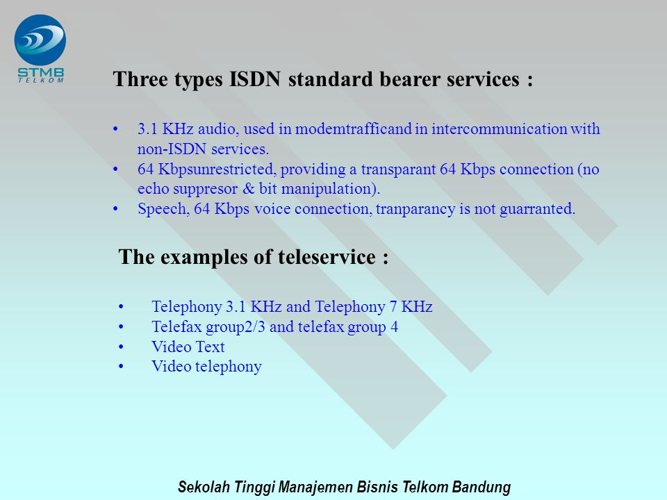 Three types ISDN standard bearer services :