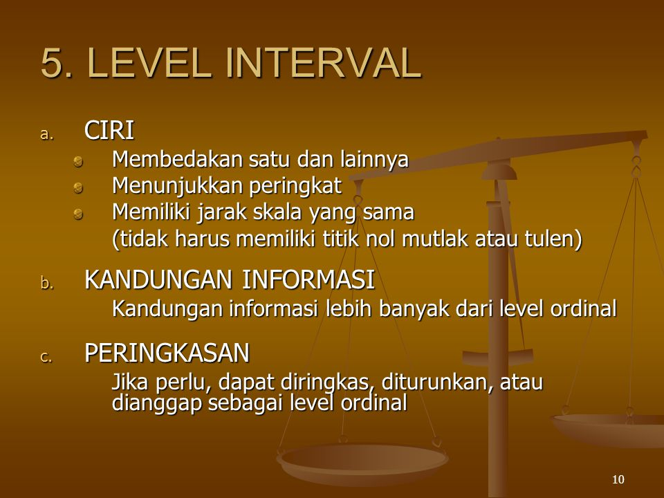 5. LEVEL INTERVAL CIRI KANDUNGAN INFORMASI PERINGKASAN