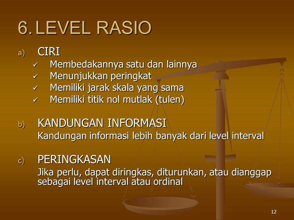 6. LEVEL RASIO CIRI KANDUNGAN INFORMASI PERINGKASAN