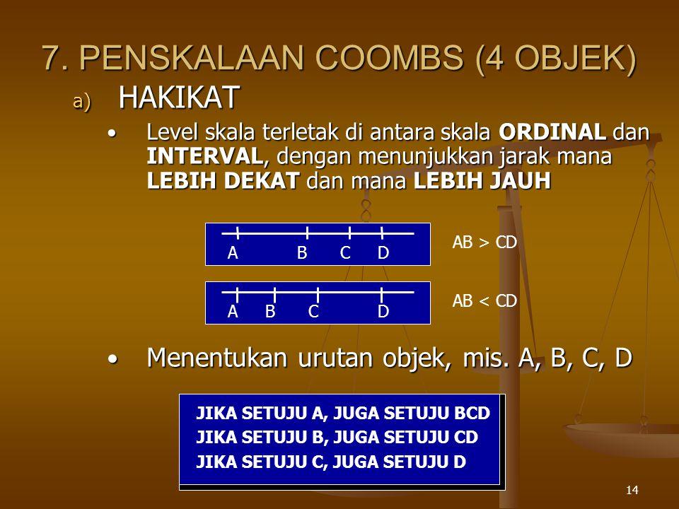 7. PENSKALAAN COOMBS (4 OBJEK)