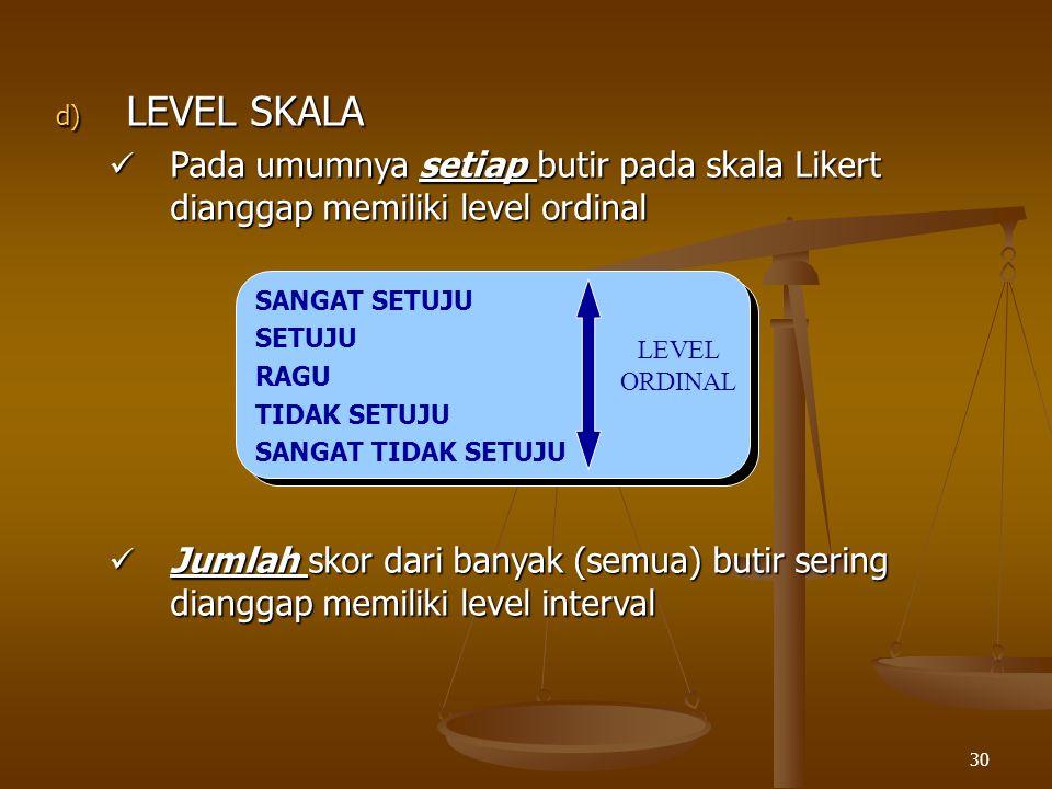 LEVEL SKALA Pada umumnya setiap butir pada skala Likert dianggap memiliki level ordinal.