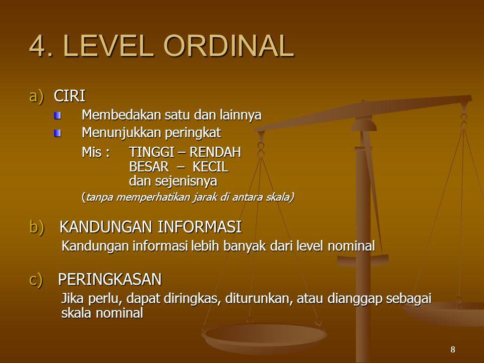 4. LEVEL ORDINAL a) CIRI b) KANDUNGAN INFORMASI c) PERINGKASAN