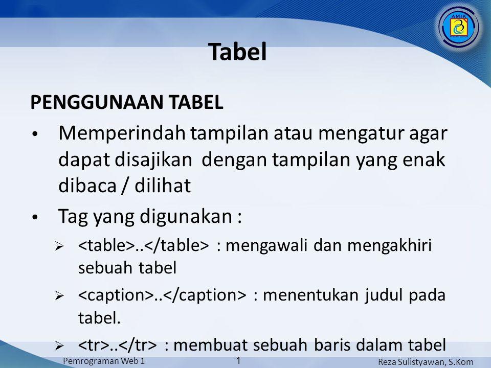 Tabel PENGGUNAAN TABEL