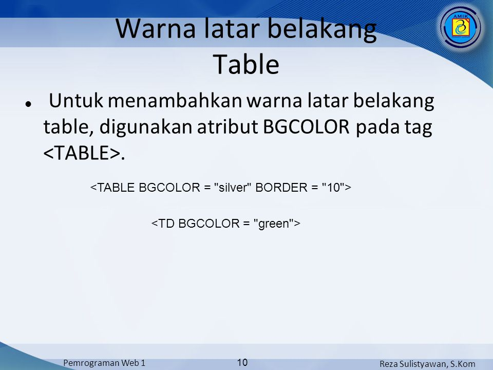 Warna latar belakang Table