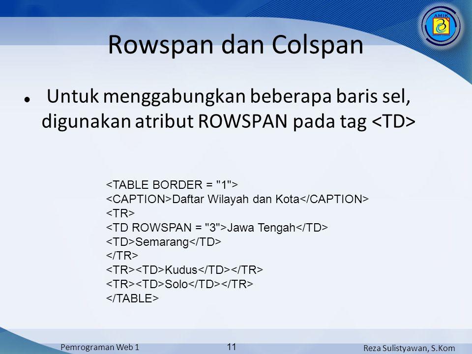 Rowspan dan Colspan Untuk menggabungkan beberapa baris sel, digunakan atribut ROWSPAN pada tag <TD>