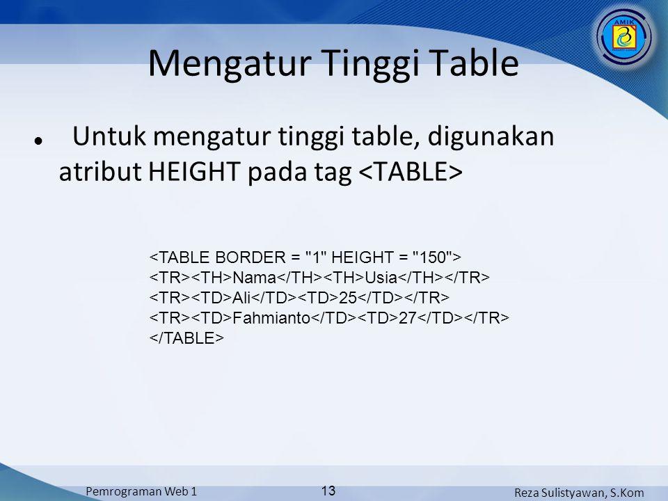 Mengatur Tinggi Table Untuk mengatur tinggi table, digunakan atribut HEIGHT pada tag <TABLE> <TABLE BORDER = 1 HEIGHT = 150 >