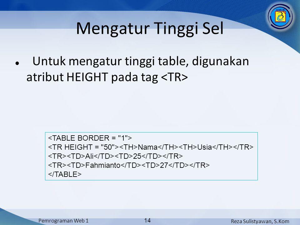 Mengatur Tinggi Sel Untuk mengatur tinggi table, digunakan atribut HEIGHT pada tag <TR> <TABLE BORDER = 1 >