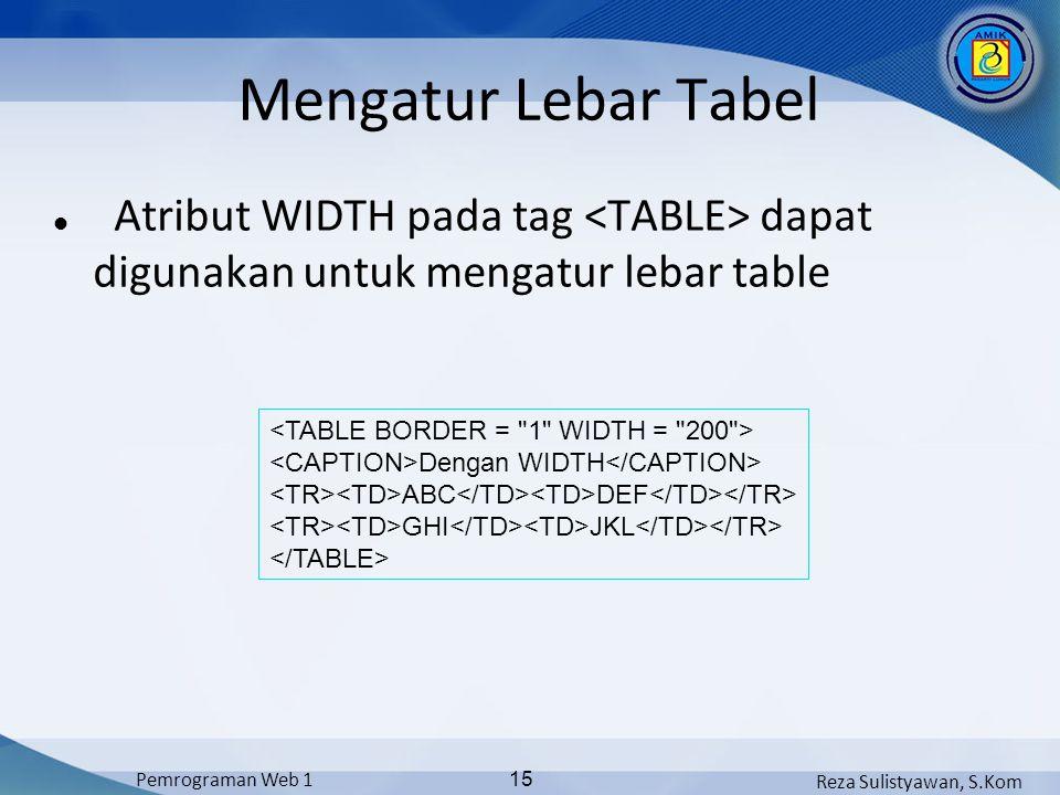 Mengatur Lebar Tabel Atribut WIDTH pada tag <TABLE> dapat digunakan untuk mengatur lebar table. <TABLE BORDER = 1 WIDTH = 200 >