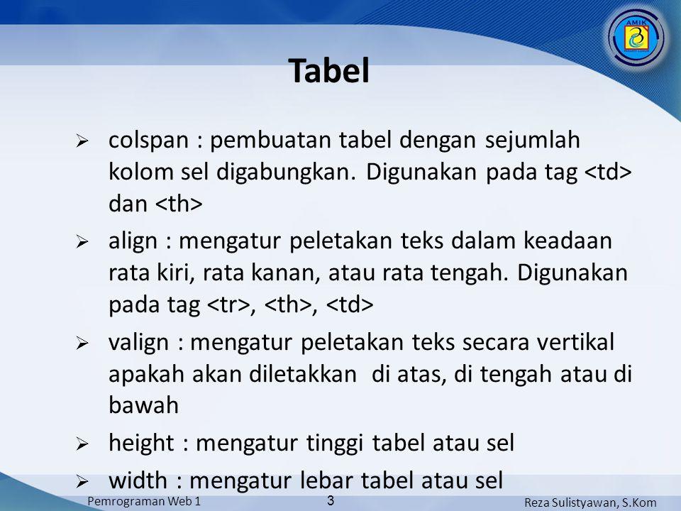 Tabel colspan : pembuatan tabel dengan sejumlah kolom sel digabungkan. Digunakan pada tag <td> dan <th>