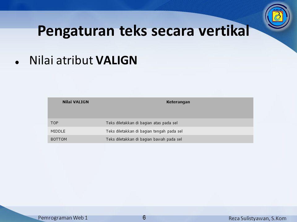 Pengaturan teks secara vertikal