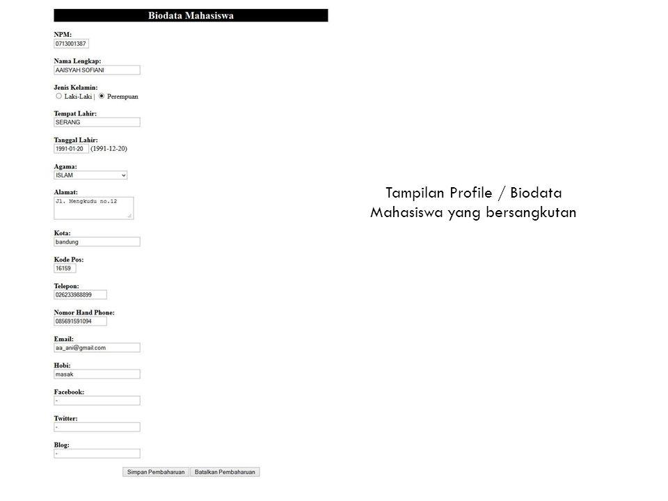 Tampilan Profile / Biodata Mahasiswa yang bersangkutan