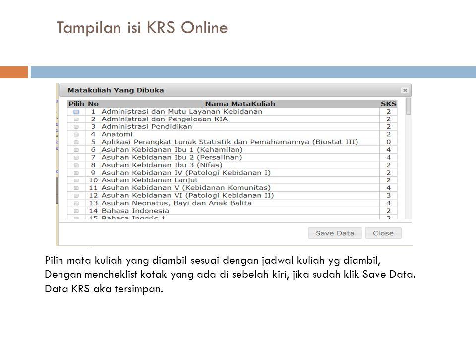 Tampilan isi KRS Online