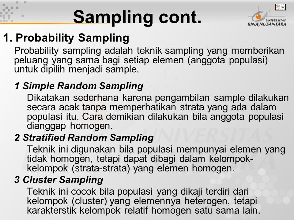 Sampling cont. 1. Probability Sampling