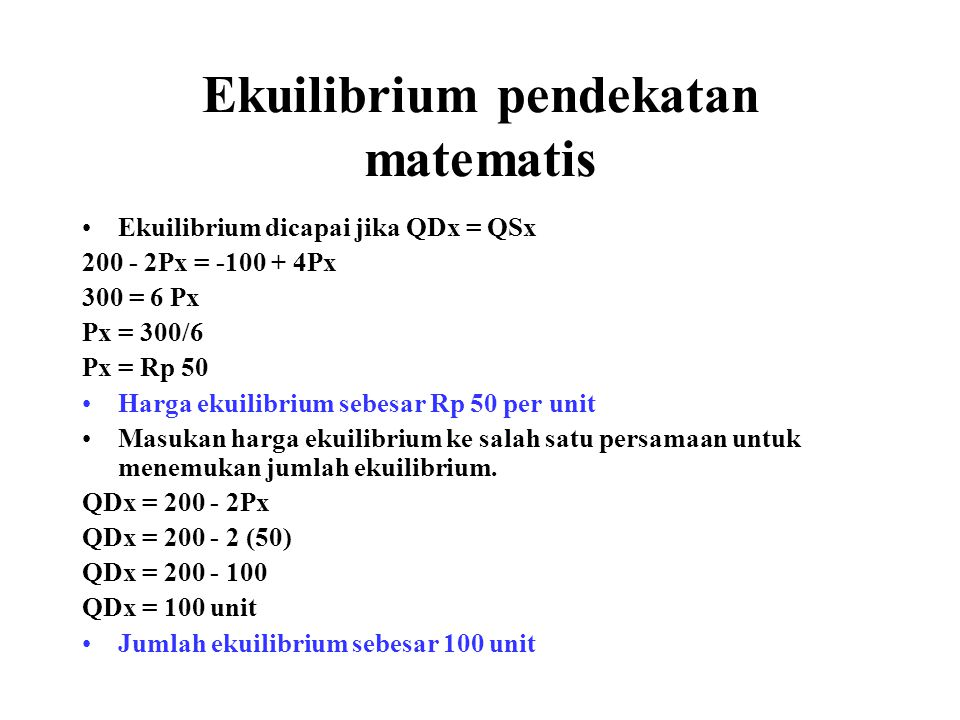 Ekuilibrium pendekatan matematis