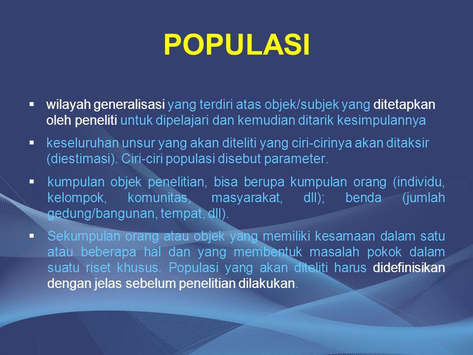 POPULASI wilayah generalisasi yang terdiri atas objek/subjek yang ditetapkan oleh peneliti untuk dipelajari dan kemudian ditarik kesimpulannya.