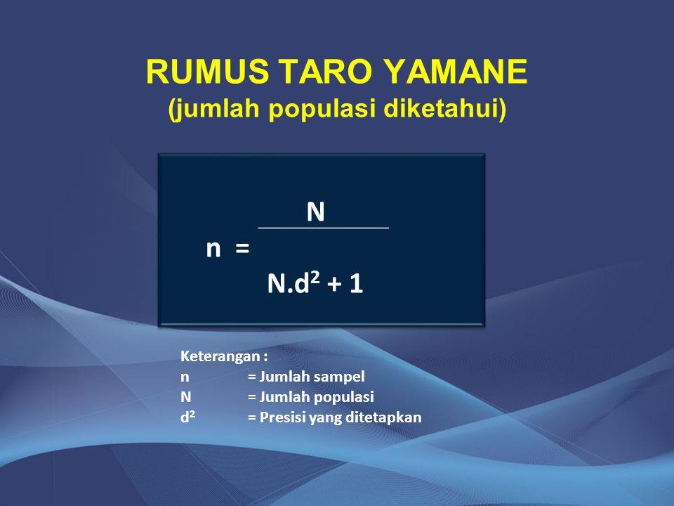 RUMUS TARO YAMANE (jumlah populasi diketahui)