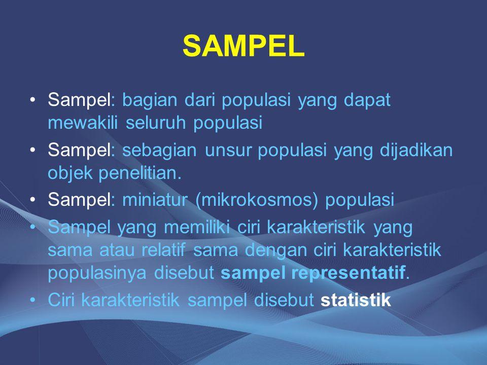 SAMPEL Sampel: bagian dari populasi yang dapat mewakili seluruh populasi. Sampel: sebagian unsur populasi yang dijadikan objek penelitian.