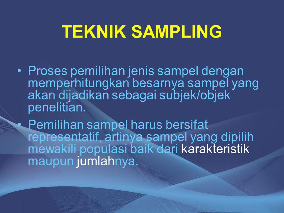 TEKNIK SAMPLING Proses pemilihan jenis sampel dengan memperhitungkan besarnya sampel yang akan dijadikan sebagai subjek/objek penelitian.