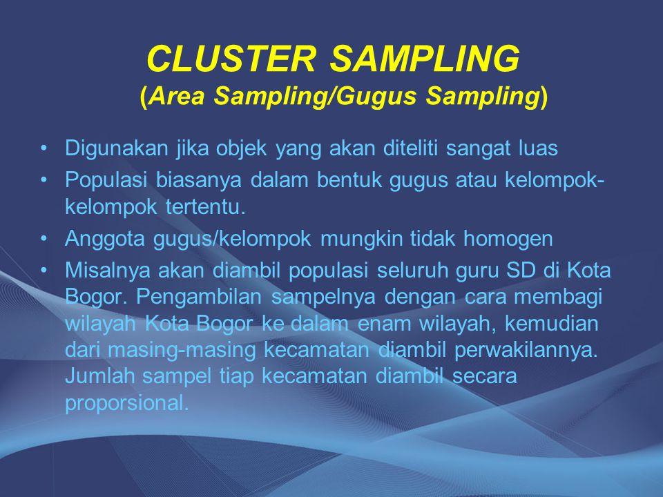 CLUSTER SAMPLING (Area Sampling/Gugus Sampling)