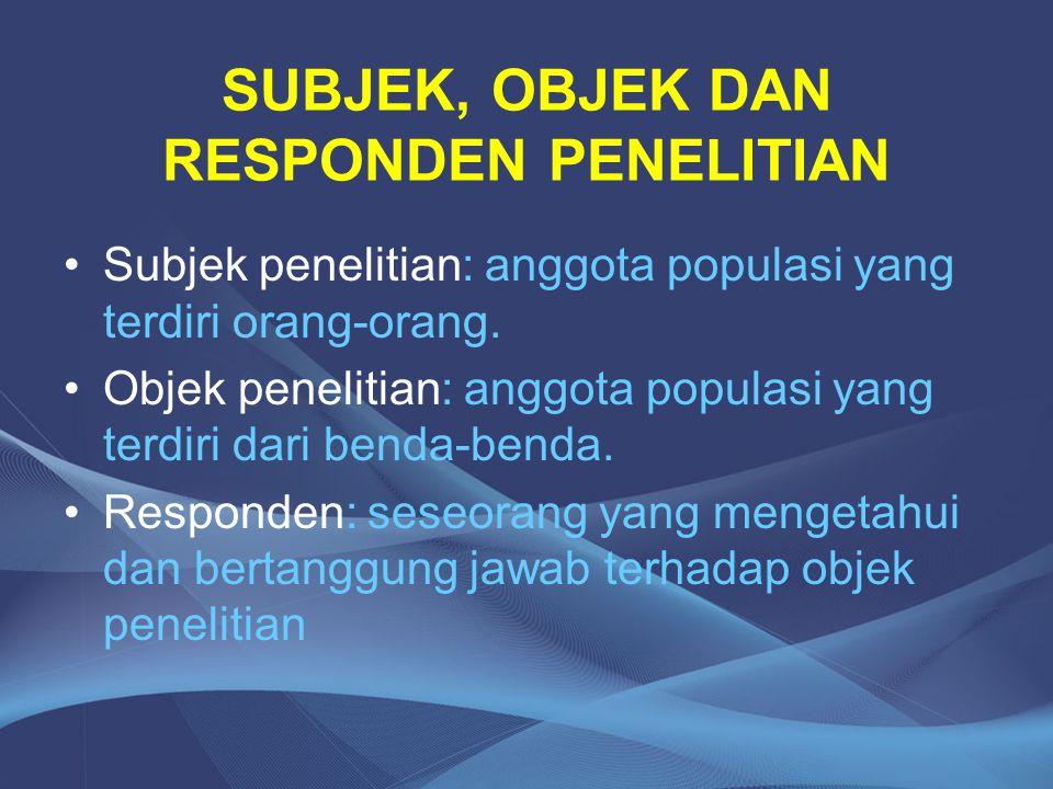 SUBJEK, OBJEK DAN RESPONDEN PENELITIAN