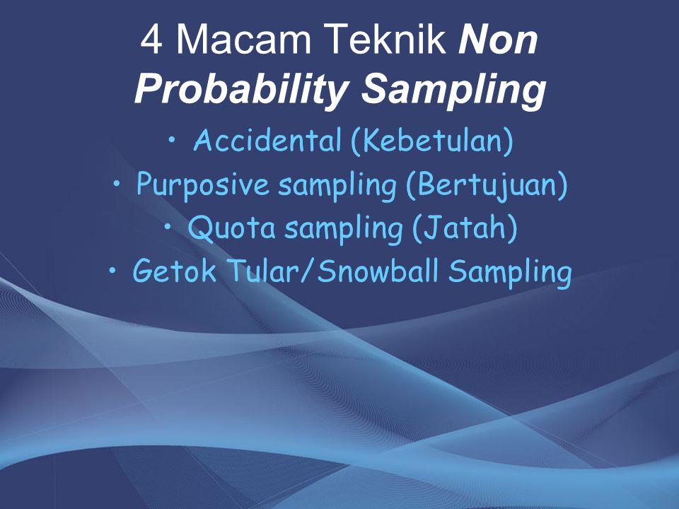 4 Macam Teknik Non Probability Sampling