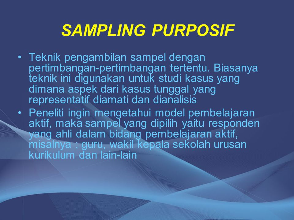 SAMPLING PURPOSIF