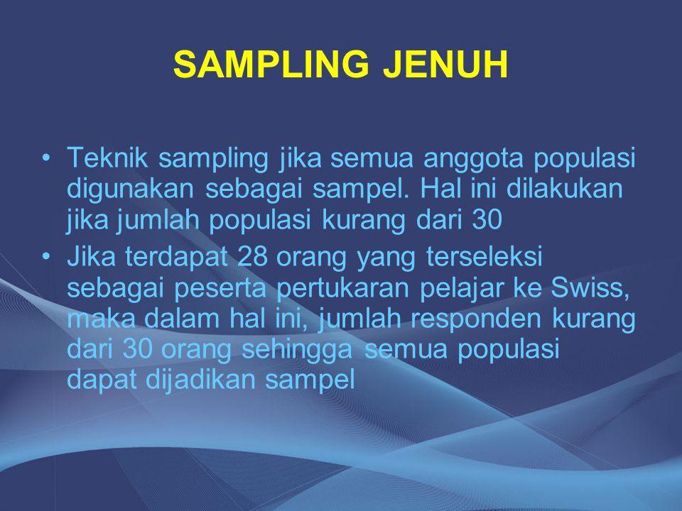 SAMPLING JENUH Teknik sampling jika semua anggota populasi digunakan sebagai sampel. Hal ini dilakukan jika jumlah populasi kurang dari 30.