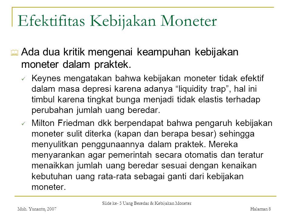 Efektifitas Kebijakan Moneter