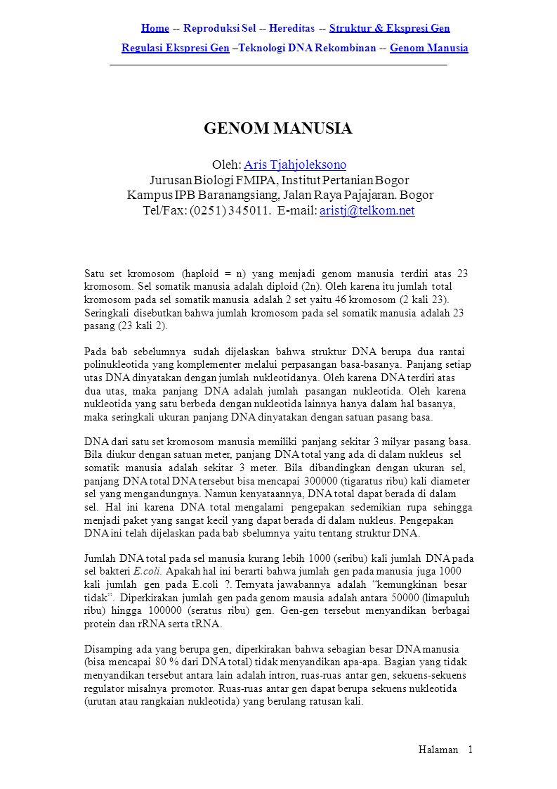 GENOM MANUSIA Oleh: Aris Tjahjoleksono