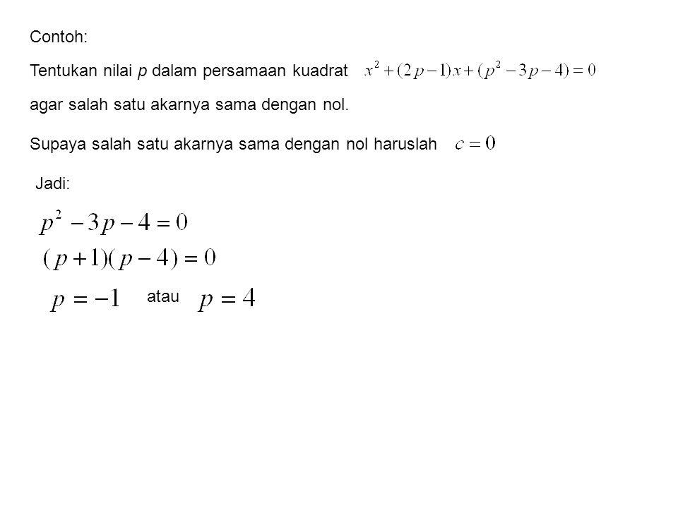 Tentukan nilai p dalam persamaan kuadrat