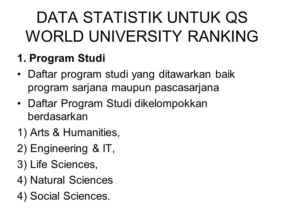 DATA STATISTIK UNTUK QS WORLD UNIVERSITY RANKING