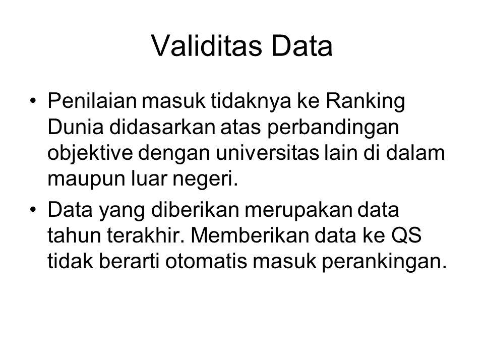 Validitas Data Penilaian masuk tidaknya ke Ranking Dunia didasarkan atas perbandingan objektive dengan universitas lain di dalam maupun luar negeri.