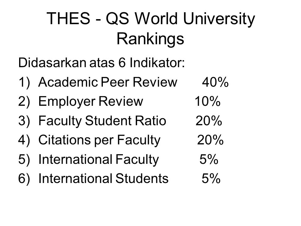 THES - QS World University Rankings
