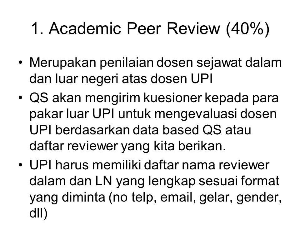 1. Academic Peer Review (40%)