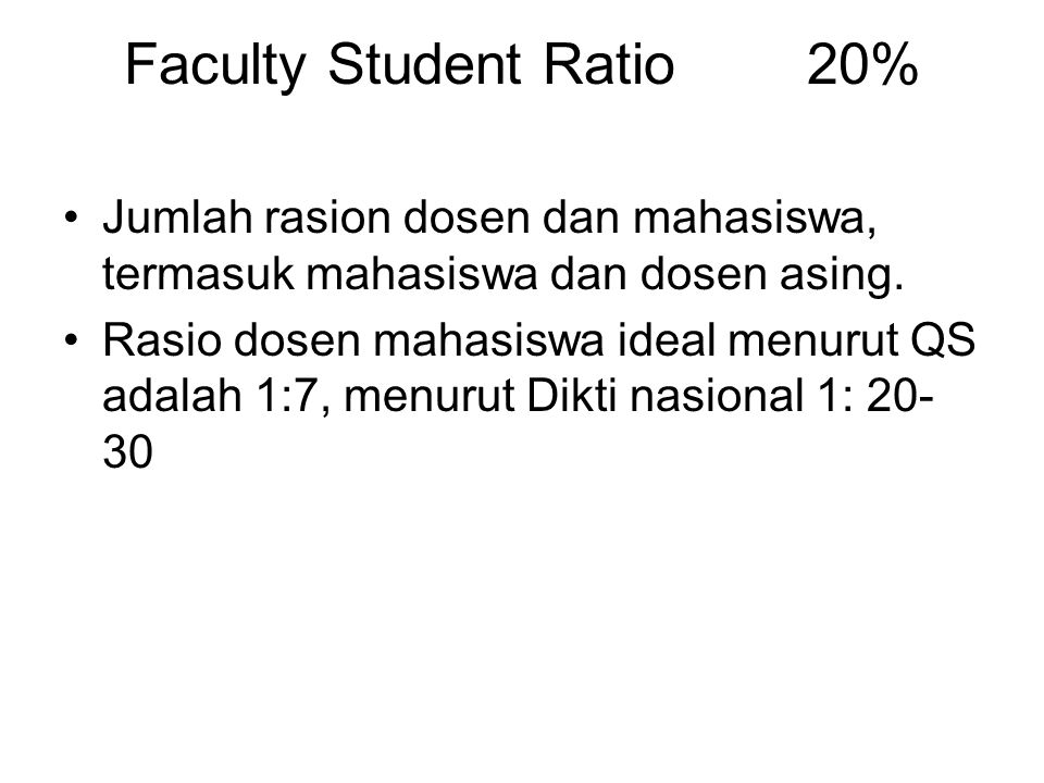 Faculty Student Ratio 20%