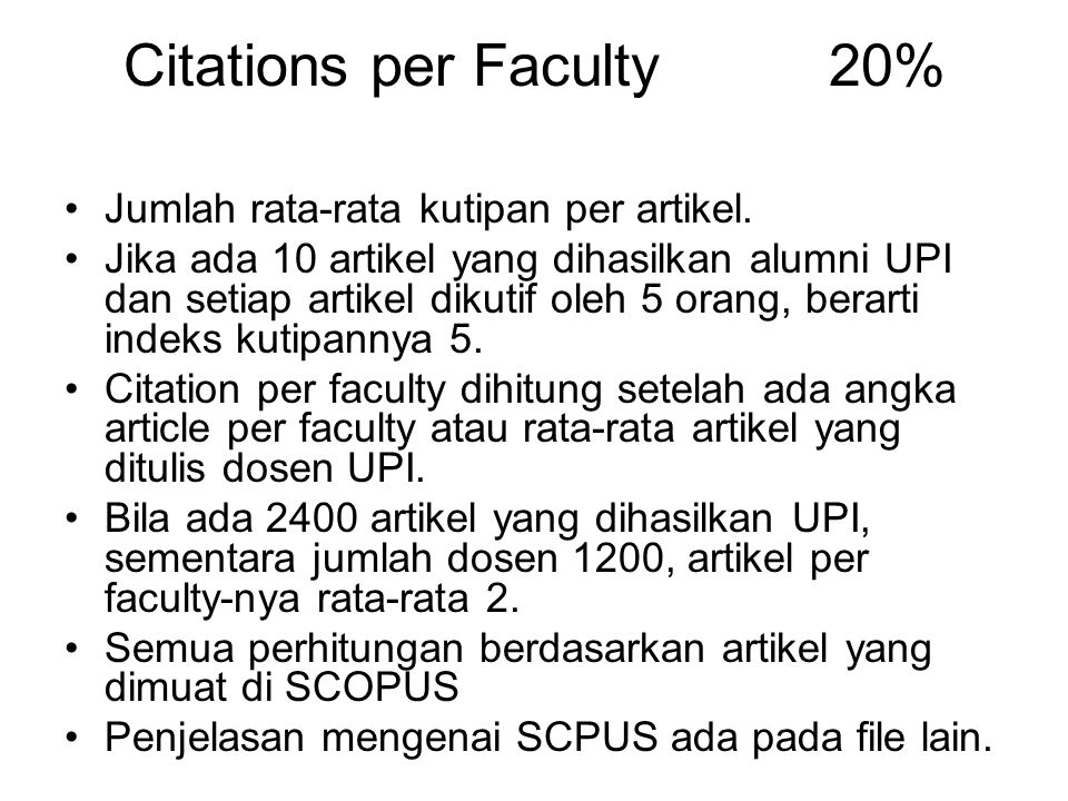 Citations per Faculty 20%