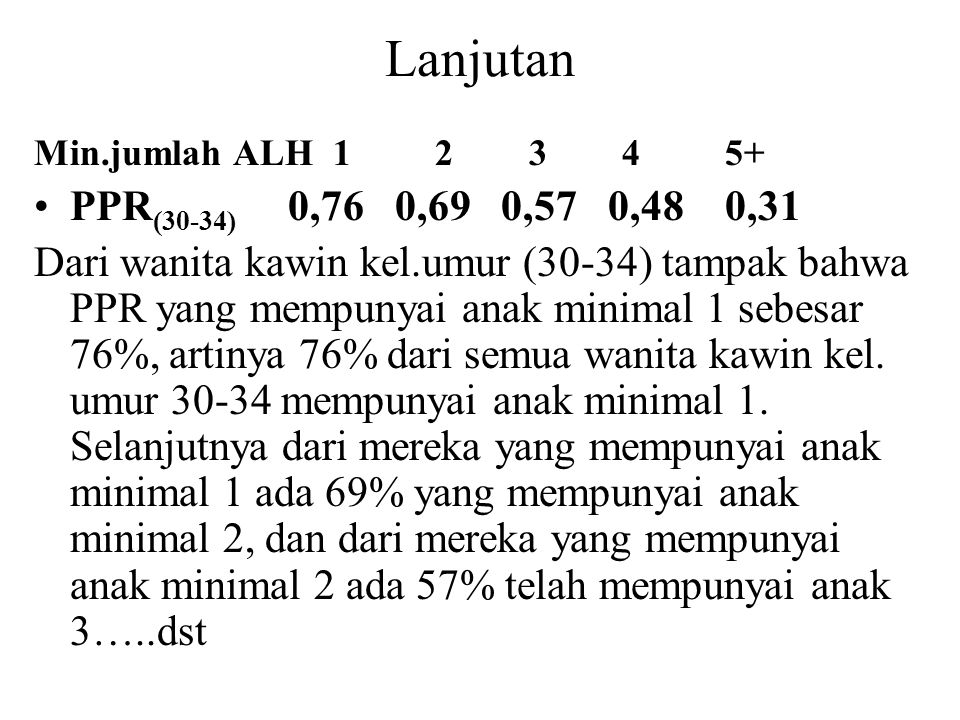 Lanjutan Min.jumlah ALH 1 2 3 4 5+ PPR(30-34) 0,76 0,69 0,57 0,48 0,31.