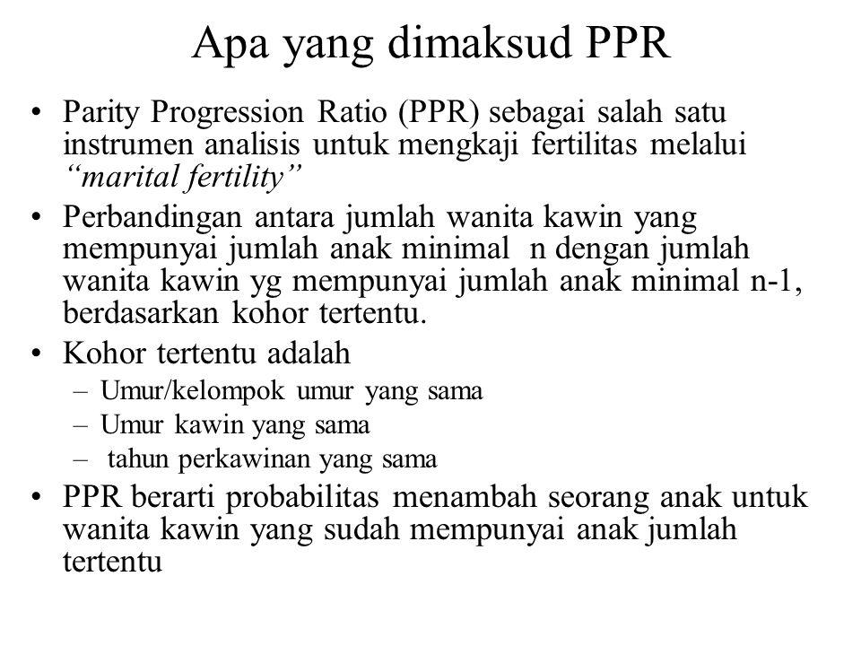 Apa yang dimaksud PPR Parity Progression Ratio (PPR) sebagai salah satu instrumen analisis untuk mengkaji fertilitas melalui marital fertility