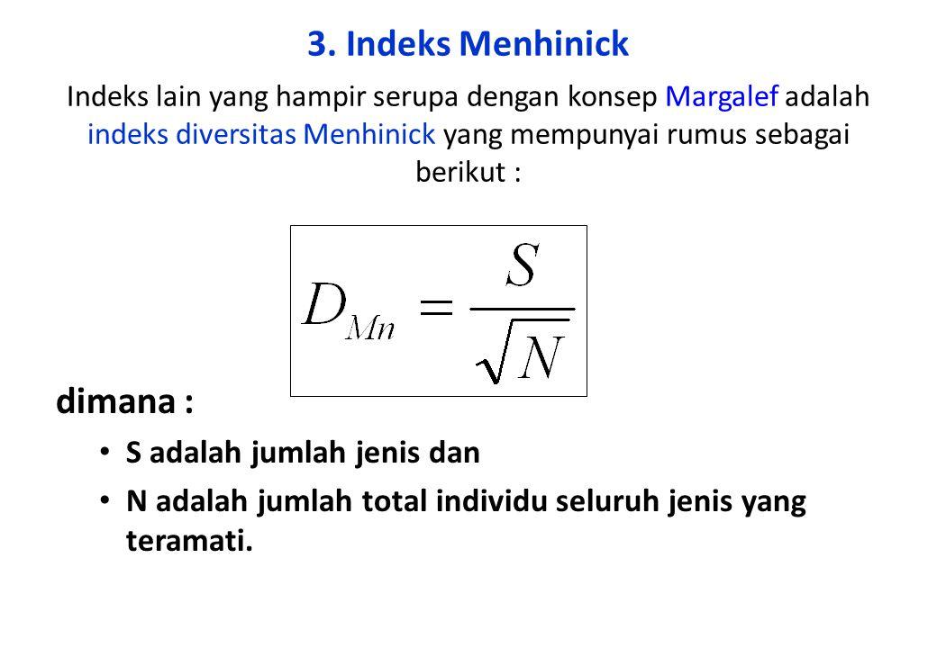 3. Indeks Menhinick Indeks lain yang hampir serupa dengan konsep Margalef adalah indeks diversitas Menhinick yang mempunyai rumus sebagai berikut :