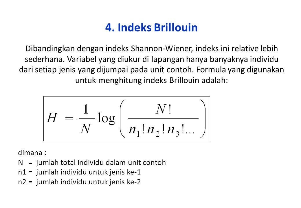 4. Indeks Brillouin Dibandingkan dengan indeks Shannon-Wiener, indeks ini relative lebih sederhana. Variabel yang diukur di lapangan hanya banyaknya individu dari setiap jenis yang dijumpai pada unit contoh. Formula yang digunakan untuk menghitung indeks Brillouin adalah: